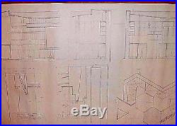 Frank Lloyd Wright Original Drawing Draft For Usonian Hex House S 7 Fireplace