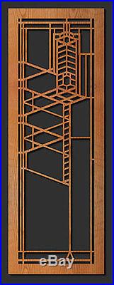 Frank Lloyd Wright ROBIE HOUSE Art Glass Design WALL HANGING Etched Wood 31x11-B