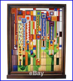 Frank Lloyd Wright Saguaro Forms Cactus Flowers Wood Framed Stained Glass