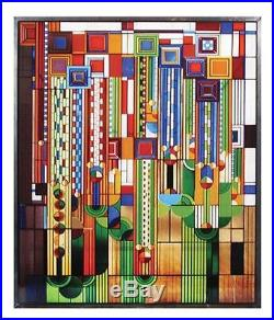 Frank Lloyd Wright Saguaro Stained Glass Metal Framed Ht13.88 x 11