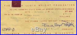Frank Lloyd Wright- Signed Bank Check from 1955