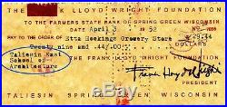 Frank Lloyd Wright Signed Check 1952 Taliesin East, Historical