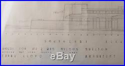 Frank Lloyd Wright Signed Elevations Drawing for Wilson Shelton House 1957