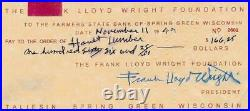 Frank Lloyd Wright Signed Framed 20x22 Photo & 1949 Check Display Fallingwater