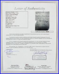 Frank Lloyd Wright Signed Handwritten Letter COA JSA
