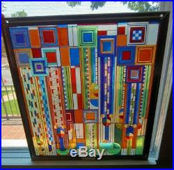 Frank Lloyd Wright Stained Glass Window-Saguaro Forms and Cactus flowers