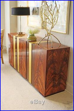 Frank Lloyd Wright Style Mid Century Modern Walnut Sideboard Server Cabinet NEW