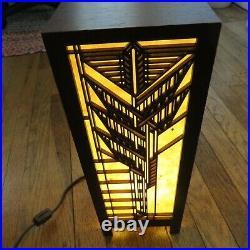Frank Lloyd Wright Sumac Lightbox Lamp Large Light Wave Laser Cherry Veneer