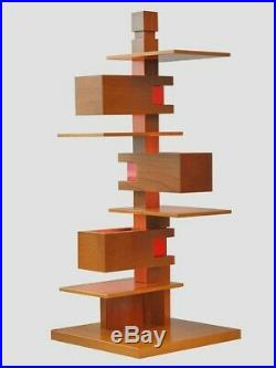 Frank Lloyd Wright Taliesin 5-light Lamp Light Oak with Red accents