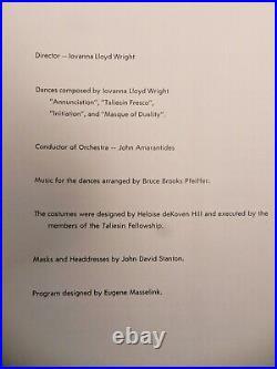 Frank Lloyd Wright Taliesin Festival Of Music And Dance Program 1959 Vintage