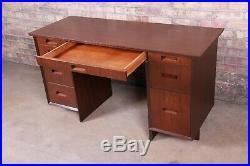Frank Lloyd Wright Taliesin Mahogany Double Pedestal Desk, Newly Restored