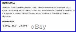 Frank Lloyd Wright Taliesin Standing Floor Clock by Bulova