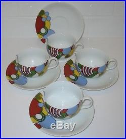 Frank Lloyd Wright Tiffany & Co Cabaret pattern art deco set of 4 cups & saucers