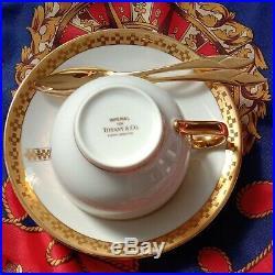 Frank Lloyd Wright Tiffany & Co. Gold Imperial Tea Cup 2 Set Espresso Cappuccino