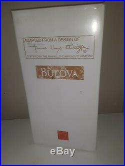 Frank Lloyd Wright Willits Mantel Clock by Bulova B1839 NIB