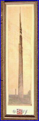 Frank Lloyd Wright lithograph, The Illinois 1957, custom frame