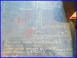 Frank Lloyd Wright's son John Lloyd Wright blueprint for house drawing 1925