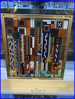 Frank Lloyd Wright stained glass panel, Suncatcher 11x 12. Beautiful Rare