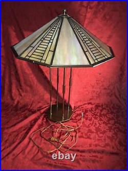 Fredrick Ramond Chandelier, Frank Lloyd Wright / Tiffany Iridescent Glass Design