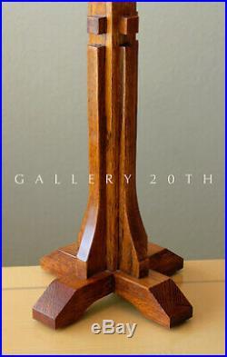 Gorgeous! Arts & Crafts Wood Table Lamp! Frank Lloyd Wright Walnut Tiffany Retro
