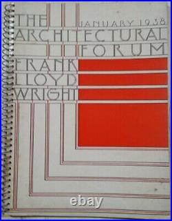 January 1938 The Architectural Forum Number One Frank Lloyd Wright