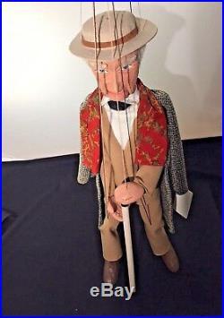 Ken Vogel Frank Lloyd Wright Marionette Puppet Man with Silk Scarf 17H