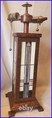 Lamp base leaded panel slag glass arts & crafts Frank Lloyd Wright style 8lb vtg