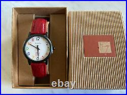 NEW Bulova Frank Lloyd Wright White Dial Red Leather Band Men's Watch 98A103