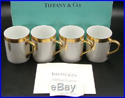 (New) 4-TIFFANY FRANK LLOYD WRIGHT'IMPERIAL' GILDED CUPS, ca. 1992