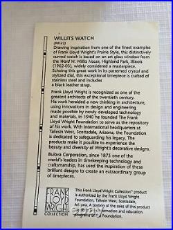 New Bulova Womens Frank Lloyd Wright Watch (Willits House) New Battery