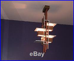 Oak Taliesin 3 Pendant Light Ceiling Lamp Modern Inspired By Frank Lloyd Wright