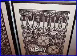Original -(2) Vintage 1980 Frank Lloyd Wright Framed Oak Park Posters Prints
