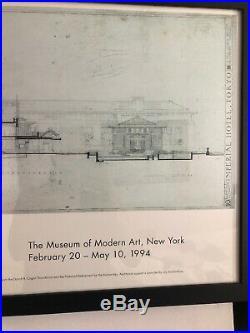 Original Frank Lloyd Wright 1994 MOMA Poster, Imperial Hotel, Framed