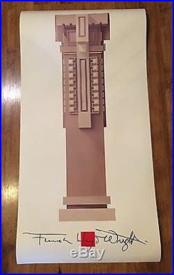 Original Frank Lloyd Wright -Oak Park Column Unity Church Poster Print -Mint
