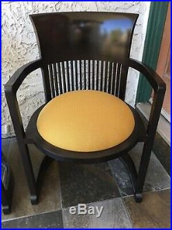 Pair 2 Frank Lloyd Wright Taliesen Barrel Chairs 606 Cassina Mid Century Modern