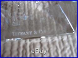 Pair 3 1/2 TIFFANY & Co. FLWRIGHT Frank Lloyd Wright 1986 Crystal Candlesticks