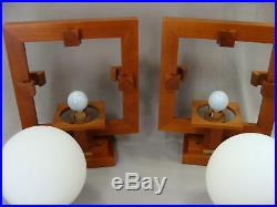 Pair Frank Lloyd Wright Robie 1 Wall Sconce Official Cherry Wood Lamps