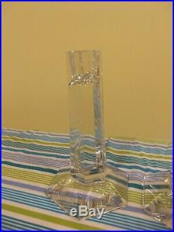 Pair Frank Lloyd Wright by Tiffany & Company Glass Candlesticks 1987