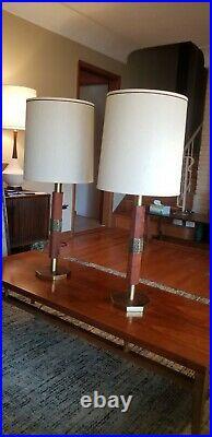 Pair Mid Century Modern Teak Octagonal Lamps Frank Lloyd Wright Look MCM 1960s