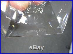 Pair Of Signed Tiffany & Co Frank Lloyd Wright Crystal Candlesticks 3 1/2