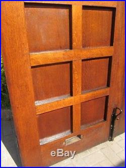 Pair of arts crafts mission oak double front entry doors for Frank lloyd wright craftsman style