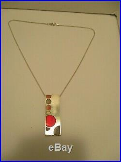 Pendant Frank Lloyd Wright FDN Lori McLean Enamel Sterling Silver w Necklace