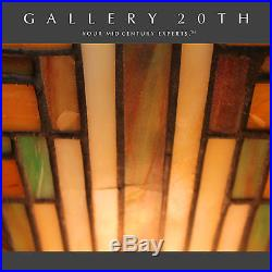 RARE! STAINED GLASS FRANK LLOYD WRIGHT STYLE LAMP! Art Deco City Eames Vtg