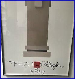 RARE Vintage Frank Lloyd Wright Unity Temple Oak park framed Print 1989