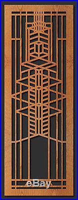 ROBIE ART GLASS WINDOW Frank Lloyd Wright LIGHT BOX LAMP 15.5 Etched Wood Lg