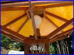 Rare ARTS & CRAFTS Mission Oak PRAIRIE SCHOOL Table Lamp FRANK LLOYD WRIGHT Era