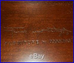 Rare Frank Lloyd Wright By Copeland 22 Suede Mahogany Ottoman Foot Stool