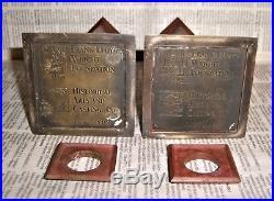 Rare Frank Lloyd Wright Foundation Bronze Vase Candle Holder Pr 1992 Arts Crafts