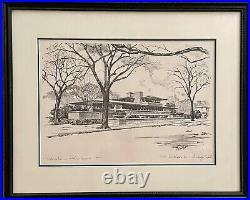 Robie House Frank Lloyd Wright, Joseph F. Hennessy Artist, Pencil Drawing Framed