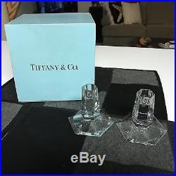 SET of 2 Tiffany & Co Frank Lloyd Wright 3 1/2 CRYSTAL CANDLESTICKS MINT IN BOX
